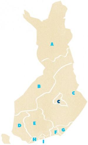 Kartta Suomen partiopiireistä