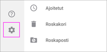 outlook android ratas-asetukset