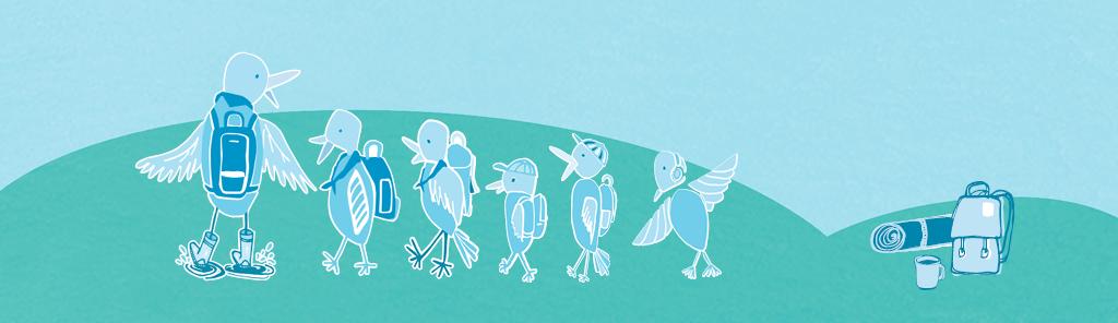 Linnut partiossa -piirros